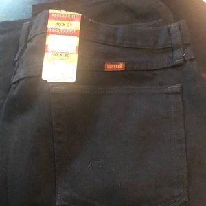 Men's 40x30 black rustler jeans NWT